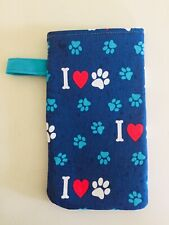 Sunglasses / Eyeglass Soft Fabric Case - I love paws Print- padded and lined
