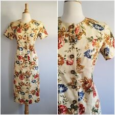 Vintage Talbots linnen cotton blend midi fitted romantic floral dress sz 6P