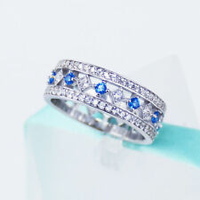 3 ct Blue Sapphire and Diamond Anniversary Wedding Band 14k Solid White Gold
