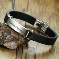 Retro Men Genuine Leather Bracelet Wristband Surfer Name Engraving Personalized