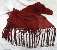 Deep Red Wine Coloured Scarf with Knotted Fringes - Scarf / Belt - NEW