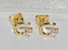 9ct Yellow Gold 0.07ct Ladies Horse Shoe Stud Earrings