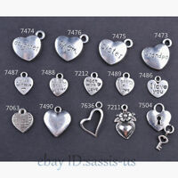 10/50 Pieces 14 Style Heart Charms made With Love Tibetan Silver DIY Jewelry
