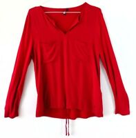 Tom Tailor Womens Blouse Long Sleeved Top Solid Red Shirt Size L 14 UK Viscose