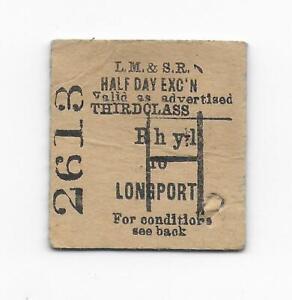 Railway Ticket LMS Rhyl to Longport 1936 Half Day Excursion Edmondson