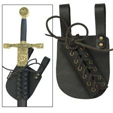 Pendragon Medieval Ebony Leather Knights Renaissance Sword Frog