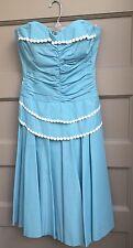 Vintage 1950'S Lilli Diamond Original Aqua Strapless Bustier Dress Size Small