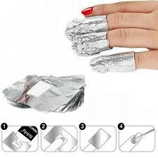 Nail Art Soak Off Acrylic Gel Polish Foil Nail Wraps Remover 100x Aluminium New