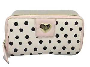 Betsey Johnson Zipper Closure Zip Around Polka dot Pink Black dot Wallet New