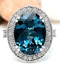 11.90 Carat Natural Topaz 18K Solid White Gold Luxury Diamond Ring