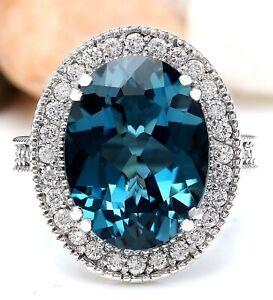 11.72 Carat Natural Topaz 14K Solid White Gold Luxury Diamond Ring