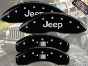 "2007-2018 ""Jeep"" Wrangler JK Front Rear Grill Black MGP Brake Disc Caliper Cover"