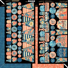 Graphic 45 Sun Kissed Cardstock Banners 2 designs, 1 sheet each