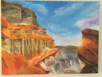Sunset in Red Canyon -- Original Acrylic Landscape Painting