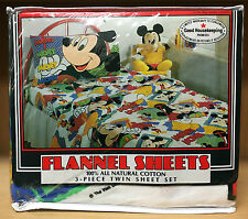 Vintage New Franco Mickey Mouse 3 Piece Twin Flannel Sheet Set 100% Cotton Rare