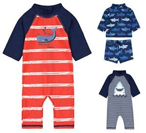 MOTHERCARE Boys Sunsafe Swimsuit Trunks Baby Navy Red Shark Whale UPF40+ NEW
