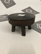 Round Decortive Mini Wood Stool, Natural Wooden Plant Stand Flower Pot Holder