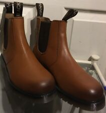New Men's Blackmans Leather Slip On Tan Plain Dealer Boots With Airsole UK 8