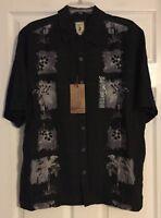 Jamica Jaxx Black 1 ISLAND PRINT 100% Silk Shirt Size Medium NWT JSW1102057