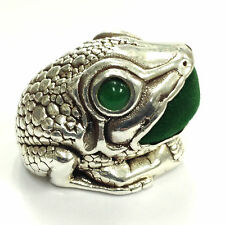 LARGE VICTORIAN STYLE FROG WITH JADE EYES PIN CUSHION 925 STERLING SILVER