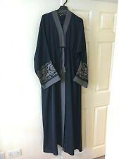 150cm Dubai Style Long Sleeve Lace Muslim Islam Abaya Maxi Long Dress ,12-14 UK