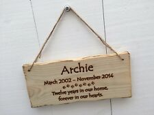 Handmade Personalised Rustic Wooden Pet Memorial Grave Marker Sign Plaque