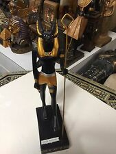 Vintage Egyptian God Anubis Statue 9'' H  Hand Carved  1987  Made in Egypt