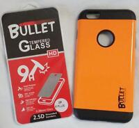 ORANGE IPHONE6 PLUS BULLET CELL PHONE CASE & IMPACT RESISTANT PROTECTIVE GLASS