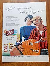 1956 Schlitz Beer Ad Couple Carving a Halloween Pumpkin