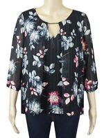 NEW Ex M&Co Ladies Black Pink Floral Chiffon Summer Party Tunic Top Size 10 - 18