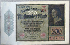 Excellent Condition    GERMANY REICHSBANKNOTE 500 MARK - 27 MARCH 1922        XF