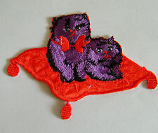 ANIMAL / KITTY / PURPLE CATS ON THE CARPET EMBROIDERED IRON ON APPLIQUE / PATCH