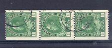 Canada 1911-22 Coil stamps FU CDS strip of 3