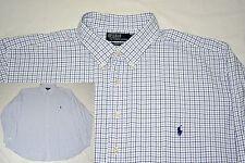 POLO RALPH LAUREN Long Sleeve Shirt - 3XL - Blue & White Check