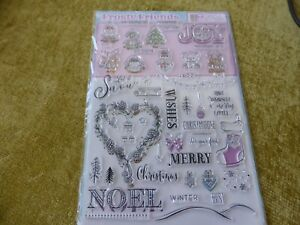 RUBBER STAMP SET  CHRISTMAS TREES NOEL BAUBLE HOLLY SNOW FLAKES STOCKING JOY