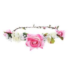 Pink Flower crown Hairband Wedding Garland Headband Festival Wreath Headdress