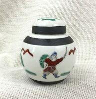 Cinese Ceramica Zenzero Barattolo con Coperchio Urna Mano Dipinto Firmato Crepa