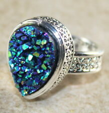 SILVER Vintage Style Golden Blue Rainbow Titanium Druzy Teardrop Ring Size 6