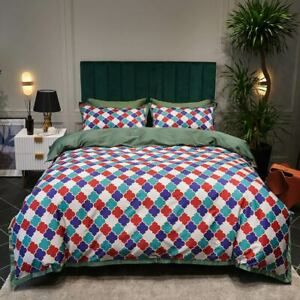 Egyptian Cotton Bedding Set Printed (Flat Fitted Sheet Pillowcase Quilt Cover)