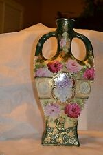 """Ant Nippon Dot Vase 16"""" 2 Handle Guilt Hand Painted Gorgeous! #403413H"""