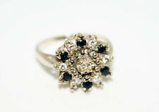 VINTAGE ESTATE SOLID 14KT WHITE GOLD DIAMOND SAPPHIRE RING