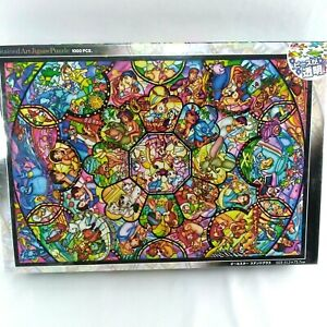Disney Stained Art Jigsaw Puzzle 1000 pc All The Stars Stained Glass Look NEW