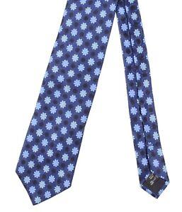 Ermenegildo Zegna Satin Navy Blue Jacquard Floral Wove Silk Tie