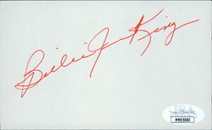 Billie Jean King Tennis Star Signed 3x5 Index Card JSA Authenticated