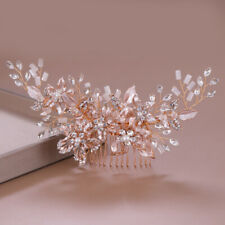 19 x 7cm Large Rose Gold Flower Wedding Head Pieces Hair Clip Comb Accessories