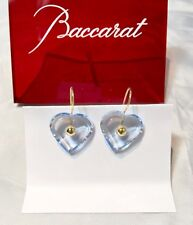 Baccarat La Folie Crystal & Gold Heart Earrings Aquamarine 101078 Orecchini NEW
