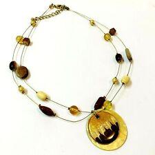 Women's Enamelled Disc Pendant on Beaded Wire Necklace 40cm Long, Neutral Tones