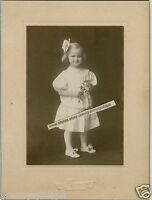 Antique Matted Photo-Ruth Snook-Cute Little Girl-Flowers-Bow-Cherokee Iowa
