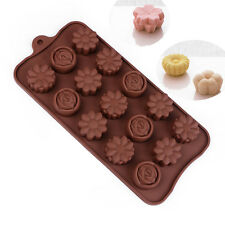 15-Cavity Rose Flower Cake Chocolate Pan Candy Silicone Baking Mold Tray