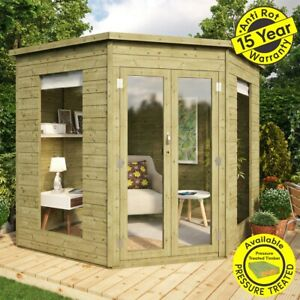 7 x 7 Pressure Treated Wooden Garden Corner Summerhouse with Double Door 7x7